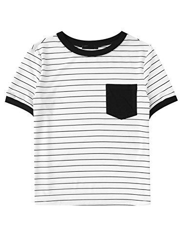 Girl Junior Ringer T-shirts - SweatyRocks Striped Tops for Women Casual Short Sleeve Ringer Tee Shirt with Pocket White M