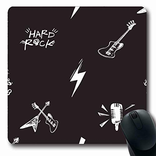 Ahawoso Mousepads for Computers Electricity Bass Rock Roll Lightnings Microphone Play Abstract Bolt Bones Club Cross Design Pirate Oblong Shape 7.9 x 9.5 Inches Non-Slip Oblong Gaming Mouse Pad