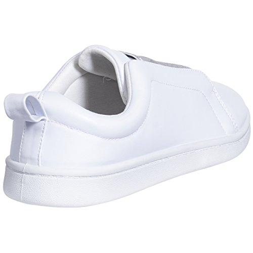 Sara Z Moda Casual Slip-on Loafers Classic Sneakers Blanco / Plateado