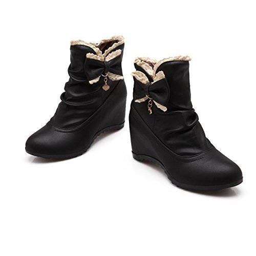 Low Pull Allhqfashion Black Women's top Kitten PU Boots Heels on Solid xFOqp0Ow5