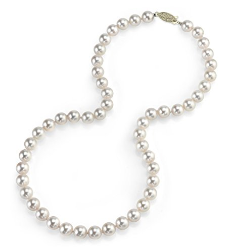 THE PEARL SOURCE 14K Gold 7.0-7.5mm AAA Quality Round Genuine White Japanese Akoya Saltwater Cultured Pearl Necklace in 18