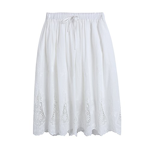 (Welove fashion Women's A-line Flared Embroidered Below Knee Length with Lining midi Skirt (S/M, White))