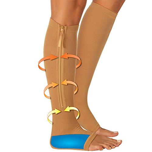 Open Toe Compression Support Zipper Socks w/ Shock Absorbing Gel Pads SM/MD -