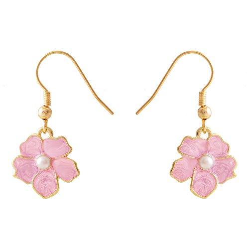 SENFAI Tiny Myosotis Forget Me Not Flower Charm Dangle Earrings Wedding Gift 3 Tone (Pink ()