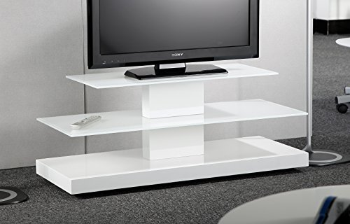"""Price comparison product image RTA Home and Office D2F-208 White Glass Plasma TV Stand with White MDF Base for a 50"""" Plasma TV"""