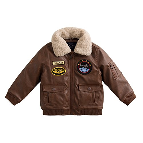 marc janie Baby Boys' Military Flight Leather Bomber Jacket 24 Months Coffee (Toddler Flight Jacket)