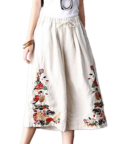 YESNO P45 Women Cropped Pants Trousers 100% Linen/Cotton Wide Leg Embroidery Casual Loose Low Crotch … (XL, P45 (Cropped Casual Trousers)