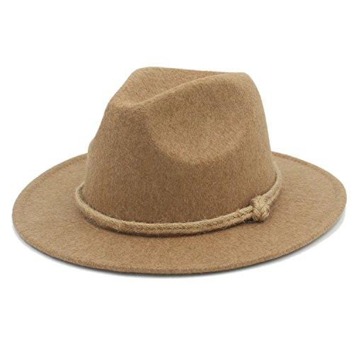 Sunny&Baby Women's Retro Wool Felt Hat Men's Wide Brim Fedora Hemp Rope Decor Fashion (Color : 1, Size : 57-58CM)