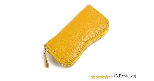 Estuche de Llaves de Cuero. Llavero de Moto de Piel (Amarillo): Amazon.es: Equipaje