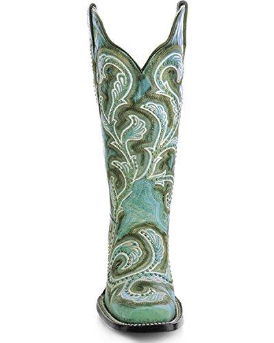 Corral Womens Turkos Dubbade Och Broderade Cowgirl Boot Fyrkantig Tå - G1266 Turkos