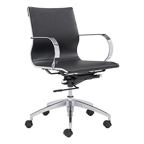 Zuo Glider Low Back Office Chair, Black