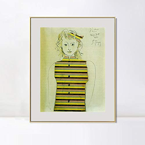 INVIN ART Framed Canvas Art Genevieve on Striped jacquette, 1951 by Pablo Picasso Wall Art Living Room Home Office Decorations(Aluminum Metal Champagne Frame with Mat & Glass,20