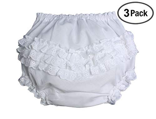 Baby Girls White Elastic Bloomer Diaper Cover with Embroidered Eyelet Edging NB 3 Pack from Little Things Mean A Lot