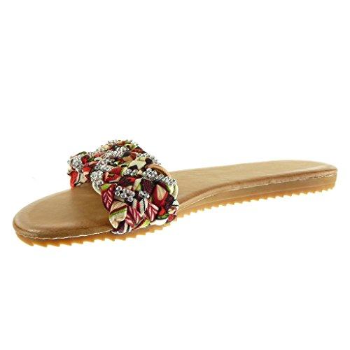 Angkorly - Chaussure Mode Sandale Tong femme lanière tréssé strass diamant Talon plat 1.5 CM - Rouge