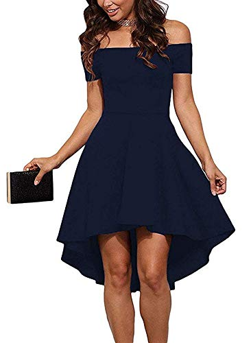 (CUQY Womens Off The Shoulder High Low Hem Cocktail Skater Vintage Patchwork Dress(FBA) (Navy2, S))