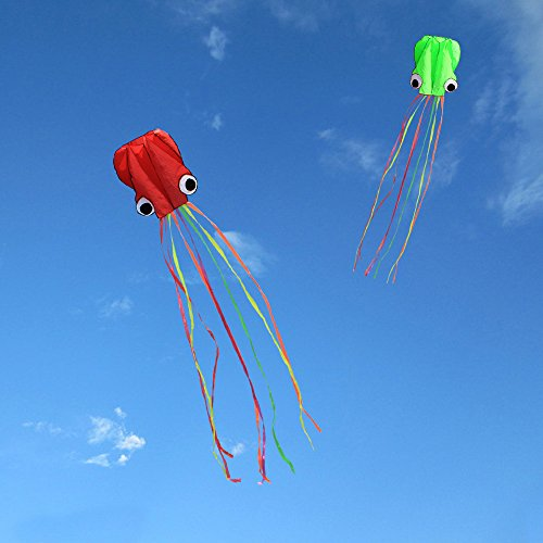 Hengda kite Pack 2 Colors autiful Large Easy Flyer Kite for Kids software octopus It\'s BIG 31 Inches Wide with Long Tail 157 Inches Long Perfect for Beach or Park by