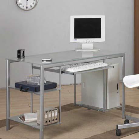 Robusta y amplia mesa de escritorio de cristal con balda para ordenador y teclado.