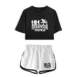 Memoryee Fashion Stranger Things Print Crop Top T-Shirts and Shorts Clothes Set Two Piece Suit for Girls and Women Sportswear