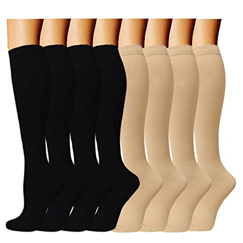 ACTINPUT 8 Pairs Compression Socks Women & Men -Best Medical,Nursing,Travel & Flight Socks-Running & Fitness,Pregnancy -15-20mmHg (L/XL, Assorted 3)