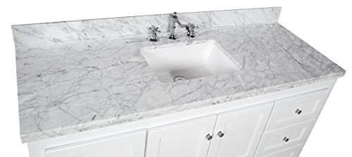 Abbey 60 Inch Single Bathroom Vanity (Carrara/White): Includes White Shaker  Style Cabinet With Soft Close Drawers U0026 Doors, Italian Carrara Marble Top  And ...