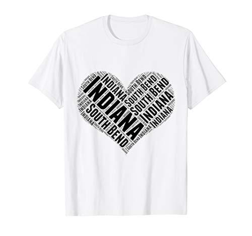 State Heart INDIANA Tshirt SOUTH BEND Tshirt Home Tee