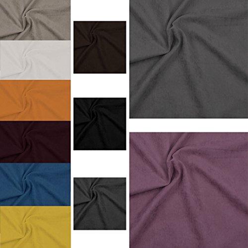 Nurtextil24 Wildleder Optik Meterware 12 Farben & 4 Maßen Stoff Blickdicht Polsterstoff 150x150cm Schwarz