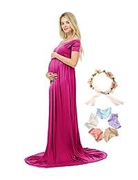 Photoshoot Maternity Dress V-Neck Short Sleeve Off Shoulder Photography MaxiGown