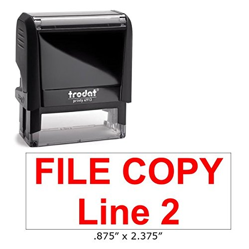 - Custom File Copy Self-Inking Stamp, 1-4 Lines of Custom Text (2 Lines)