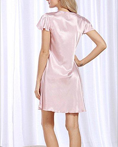 Vestaglia Vestaglia Pigiama Corta da Pajamas Raso Pink Notte Rosso Gomma Elegante Donna YxFdwEqTq