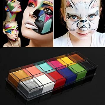 Easybuy India Pro 12 Colors Body Art Painting Oil Makeup Cosmetic Bright Party Facial Face With 4 Brushes Amazon In Beauty