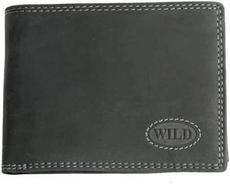 Very Dark Grey Genuine Leather Wallet Wild