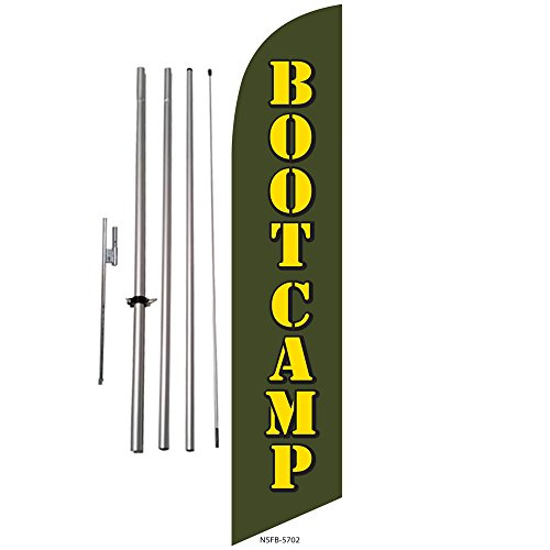 Bootcamp Fitness Advertising Feather Banner Swooper Flag Kit w/ Spike