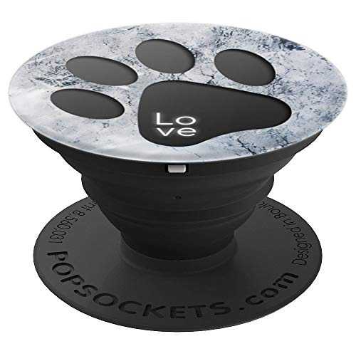 Paw Print Collapsible - Dog Cat paw print marble Cute blue white puppy design gift - PopSockets Grip and Stand for Phones and Tablets
