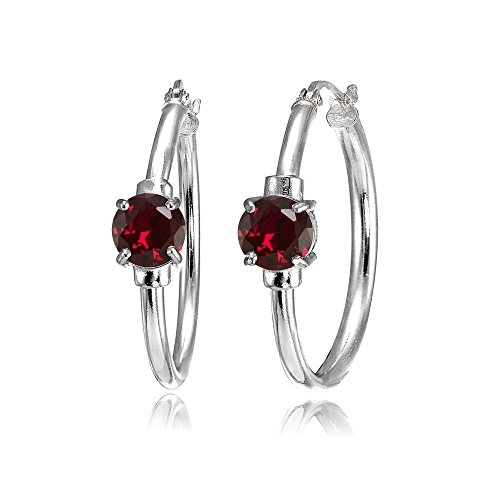 (Sterling Silver Created Ruby Solitaire 25mm Hoop)