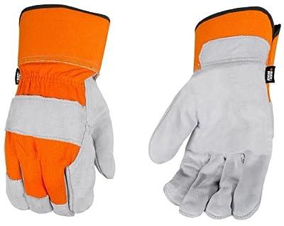 Black and Decker BD520L Premium Split Cowhide Leather Palm Work Gloves, Large