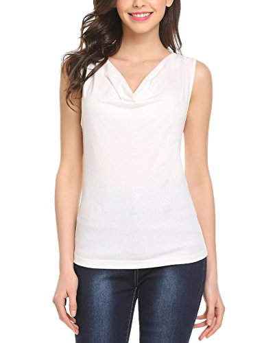 eless Sexy Cowl V Neck Slim Fit Pleated Casual Tank Tops Cream Medium (Cream Cowl Neck)