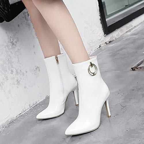 de Martin Boots lacets pour à Jiejie Bottes Stiletto bottes blanches d'hiver haute hauts qualité chaussures à talons et filles pour femmes UqwdAw