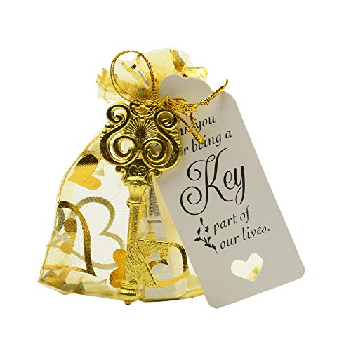 Aokbean 50pcs Owl Shaped Vintage Key Bottle Opener Wedding Favors Souvenir Gift Set Thank You Tags Drawstring Sheer Bags ()