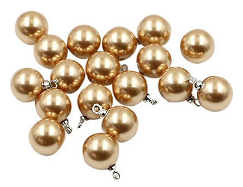 10 Pack 10mm Round Pearl Plastic Buttons With Shank Clothing Accessories, Golden ()