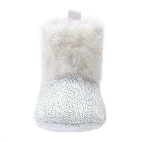Domybest New Baby Mädchen Winter Schnee Stiefel Infant Solide Bowknot Schuh Prewalker Weiß