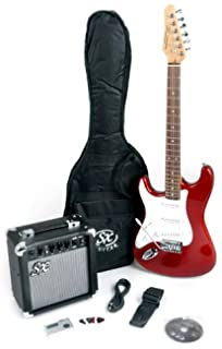 sx rst 3/4 lh car red left handed short scale guitar package with amp