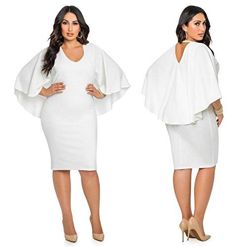 Diamondo Plus Size Women Sexy Bodycon Batwing Mini Party Dress White (Asian (Belted Spandex Tunic)