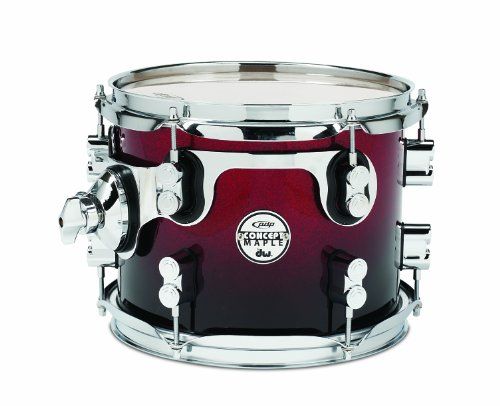 Chrome Hardware Fade Red - Pacific Drums PDCM0810STRB 8 x 10 Inches Tom with Chrome Hardware - Red to Black Fade