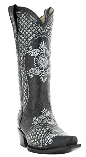 Ivory Rhinestone Cowboy Boots for Women by Soto Boots M50027 (8, Dark Brown) by Soto Boots