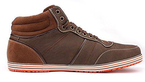 Polar Fox Fashion Heren Hoge Sneakers Met Vetersluiting En Veters Bruin