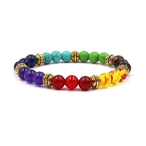 - Natural Stone Agate Tigers Eye Lava Rock Beads Stretchy Healing Reiki Chakra Charm Bangle Bracelet for Men Women (Style I - C)