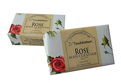 Touch Nature Handmade Soap. 2 pc 100g Rose Bar & Castile Soap, No Sulphates, No Parabens. Moisturizing and Rejuvenating. Sweet Aroma. Perfect Gift for Women and Girls.