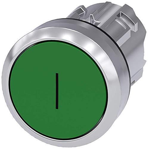Flush Green 22mm Inscription: I Siemens 3SU10500AB400AC0 Pushbutton Momentary Metal