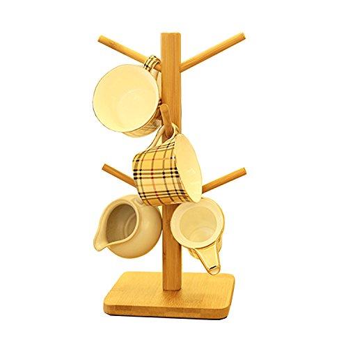 Oak-Pine Wooden Removable Tea Cups Tree Storage Holder Ra...