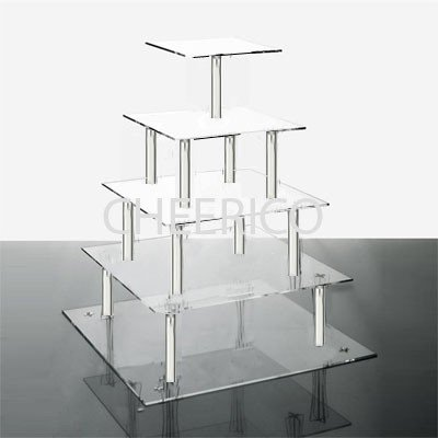 Pillar Square Wedding (5 Tier Square Wedding Acrylic Cupcake Stand Tree Tower Cup Cake Display)